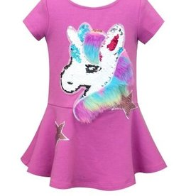 Truly Me Magenta Unicorn Patch Faux Fur Detail Dress