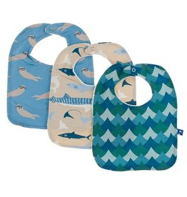 Kickee Pants Bib Set (Blue Moon Otter/Burlap Sharks/Ivy Whales)
