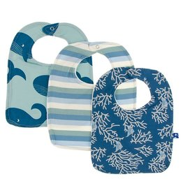Kickee Pants Bib Set (Jade Whales/Oceanography Stripe/Twilight Coral Fans)