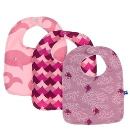 Kickee Pants Bib Set (Lotus Whales/Melody Waves/Pegasus Coral Fans)