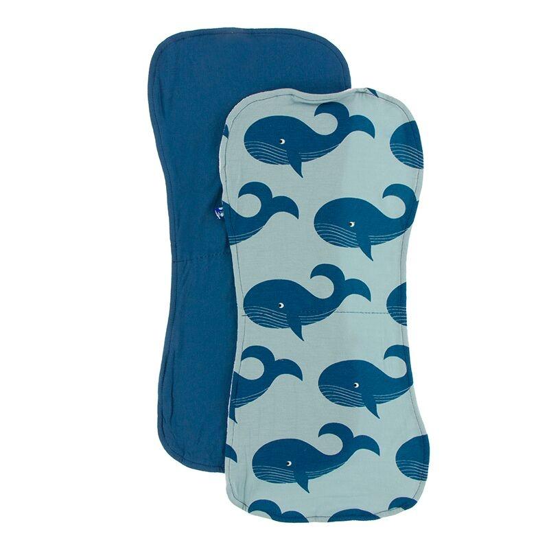 Kickee Pants Burp Cloth Set (Twilight/Jade Whales)