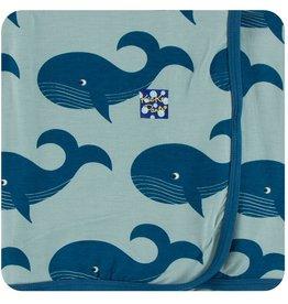Kickee Pants Swaddling Blanket Jade Whales