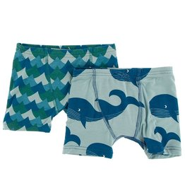 Kickee Pants Boxer Briefs Set (Ivy Whales/Jade Whales)