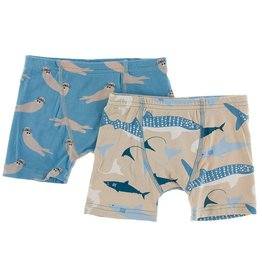 Kickee Pants Boxer Briefs Set (Blue Moon Otter/Burlap Sharks)