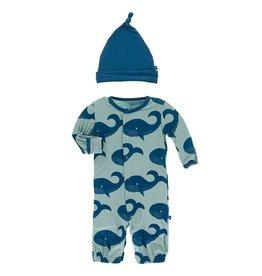 Kickee Pants Gown Converter & Hat Set Jade Whales
