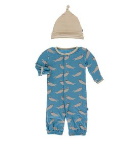 Kickee Pants Gown Converter & Hat Set Blue Moon Sea Otters