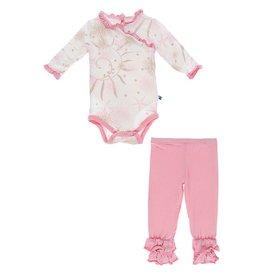 Kickee Pants LS Kimono Ruffle Pant Outfit Set Natural Sea Garden
