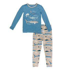 Kickee Pants LS Pajama Set Burlap Sharks