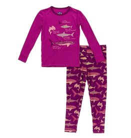 Kickee Pants LS Pajama Set Melody Sharks