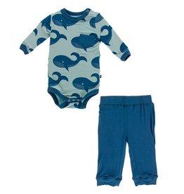 Kickee Pants LS Pocket Pant Outfit Set Jade Whales