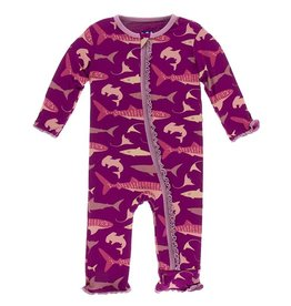 Kickee Pants Muff. Ruff. Zip Coverall Melody Sharks