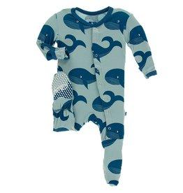 Kickee Pants Snap Footie Jade Whales