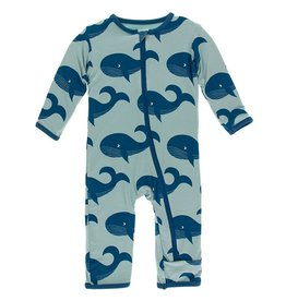 Kickee Pants Zip Coverall Pond Jade Whales
