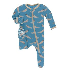 Kickee Pants Zipper Footie Blue Moon Sea Otter