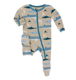 Kickee Pants Zipper Footie Burlap Sharks