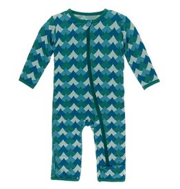 Kickee Pants Zip Coverall Ivy Waves