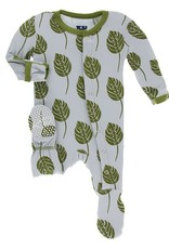 Kickee Pants Footie w/ Snaps Dew Philodendron