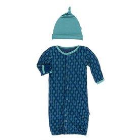 Kickee Pants Gown Converter & Hat Set Navy Lattice Leaf