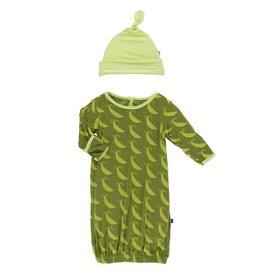Kickee Pants Gown & Hat Set Grasshopper Sweet Peas