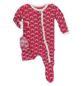 Kickee Pants Muff. Ruff. Footie w/ Snaps Red Ginger Mini Trees, PRE
