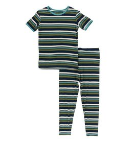 Kickee Pants SS Pajama Set Botany Grasshopper Stripe