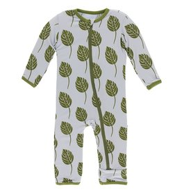 Kickee Pants Coverall w/ Zipper Dew Philodendron