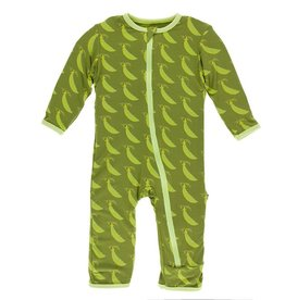 Kickee Pants Coverall w/ Zipper Grasshopper Sweet Peas