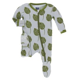 Kickee Pants Footie w/ Zipper Dew Philodendron