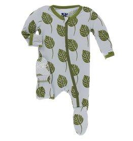 Kickee Pants Footie w/ Zipper Dew Philodendron