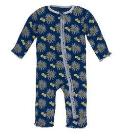 Kickee Pants Muff. Ruff. Coverall w/ Zipper Navy Cornflower Bee
