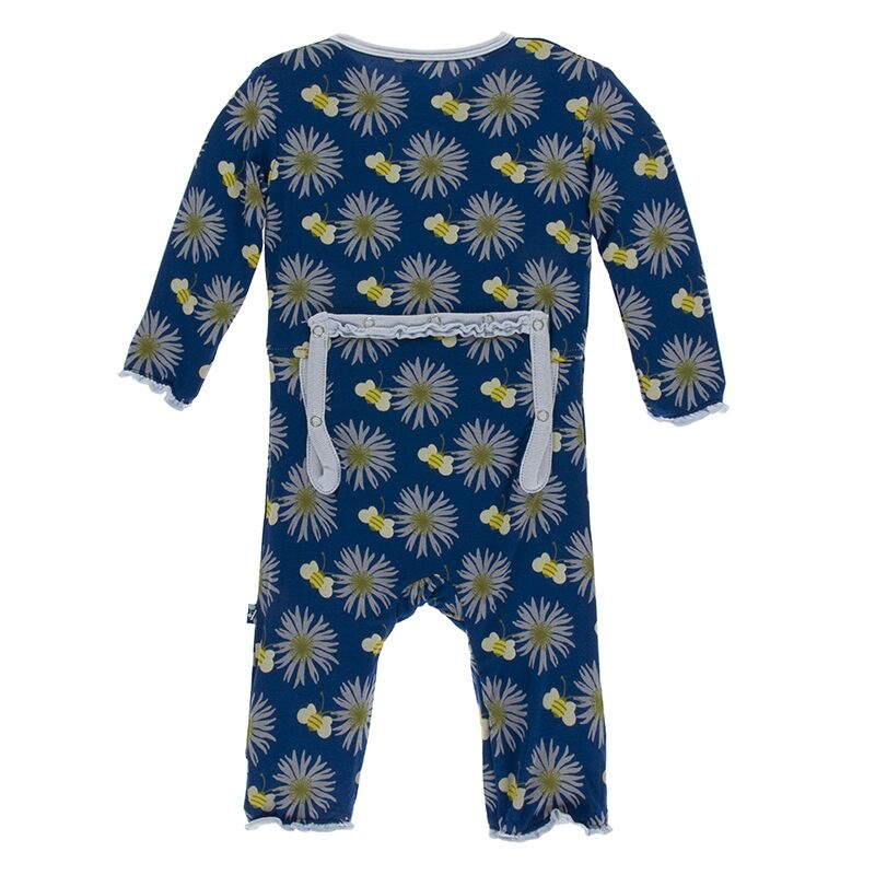 Kickee Pants Muff. Ruff. Coverall w/ Zipper Navy Cornflower Bee