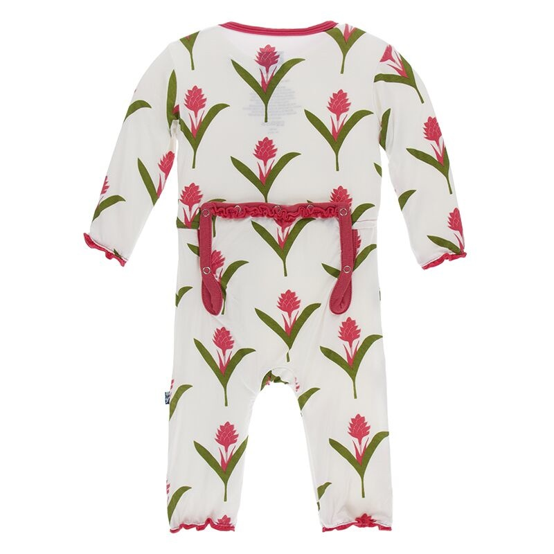 Kickee Pants Muff. Ruff. Coverall w/ Zipper Natural Red Ginger Flowers