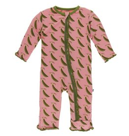 Kickee Pants Muff. Ruff. Coverall w/ Zipper Strawberry Sweet Peas