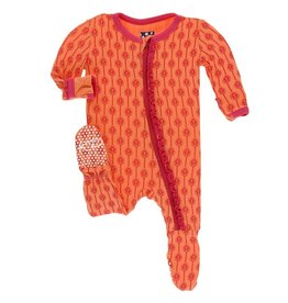 Kickee Pants Muff. Ruff. Footie w/ Zipper Nectarine Leaf Lattice