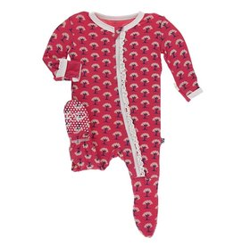 Kickee Pants Muff. Ruff. Footie w/ Zipper Red Ginger Mini Trees