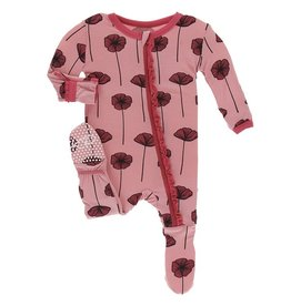 Kickee Pants Muff. Ruff. Footie w/ Zipper Strawberry Poppies