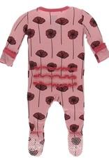 Kickee Pants Muff. Ruff. Footie w/ Zipper Strawberry Poppies