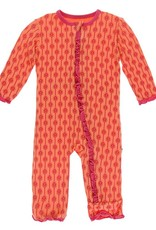 Kickee Pants Muff. Ruff. Coverall w/ Zipper Nectarine Leaf Lattice