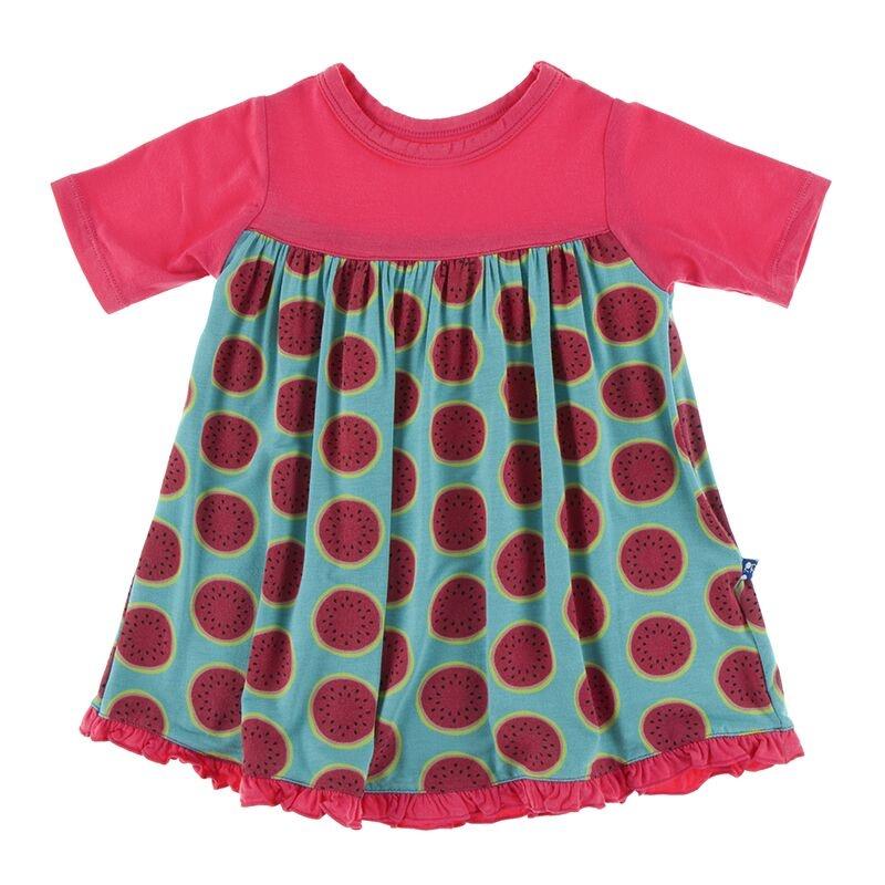 Kickee Pants SS Swing Dress Neptune Watermelon