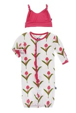 Kickee Pants Ruff. Gown Converter & Hat Set Natural Red Ginger Flowers