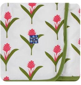 Kickee Pants Swaddling Blanket Natural Red Ginger Flowers