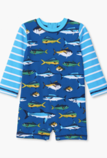 Hatley Game Fish One Piece Rashguard Swimsuit