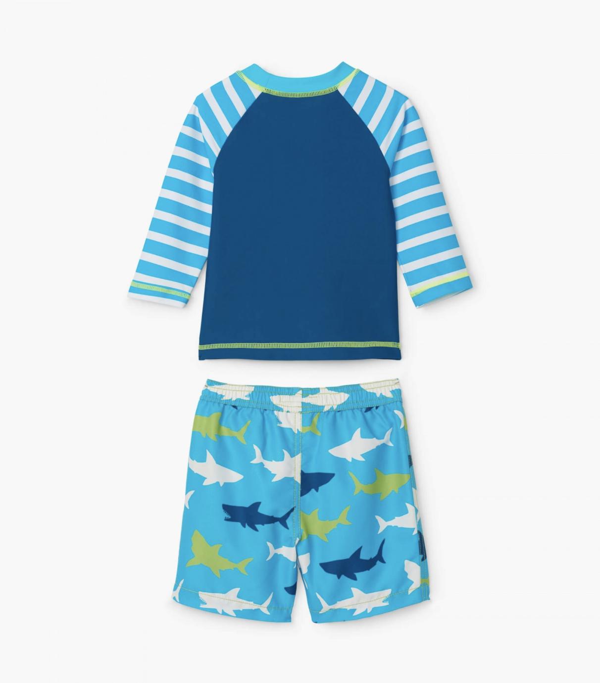 Hatley Great White Shark Rashguard Swim Set