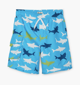 Hatley Great White Sharks Swim Trunks Blue Atoll