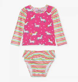Hatley Prancing Unicorns Rashguard Swim Set