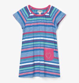 Hatley Summer Stripe Tee Shirt Dress Blue Aster