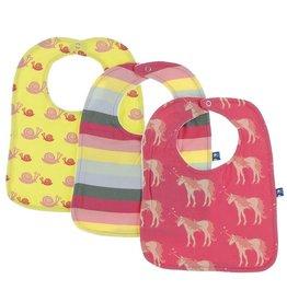 Kickee Pants Bib Set (Banana Snails/Biology Stripe/Red Ginger Unicorns)
