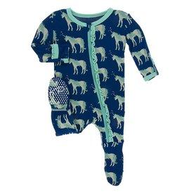 Kickee Pants Muff. Ruff. Footie w/ Zipper Flag Blue Unicorns