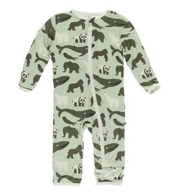 Kickee Pants Coverall w/ Zipper Aloe Endangered Animals