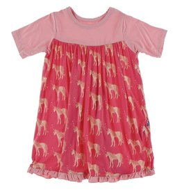 Kickee Pants Classic SS Swing Dress Red Ginger Unicorns